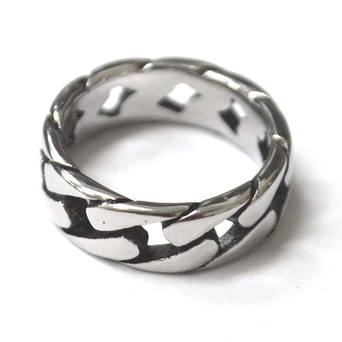 7mm Curb Link Stainless Steel Ring 81-800S-7