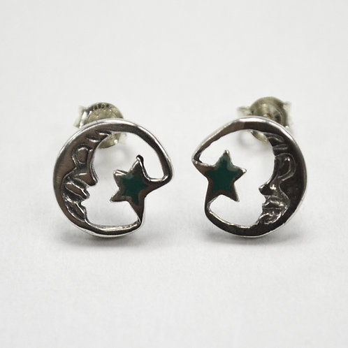 Moon and Star Stud Earring Sterling Silver 535217