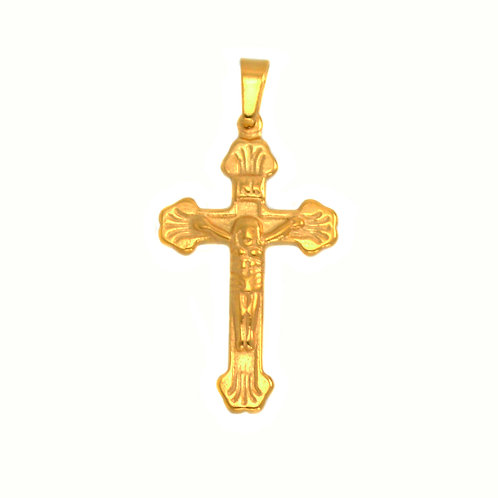 Crucifix Gold IP Plated Pendant  86-1690G