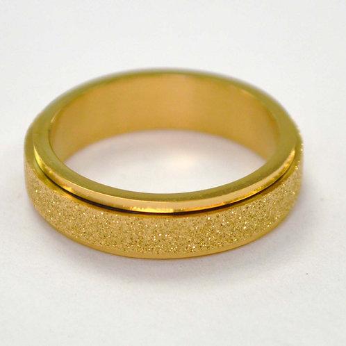 Gold IP Plated Glitter Spinner Ring 81-1436G