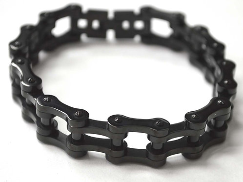 15mm Bicycle Link Black Plated Bracelet 84-1356B-15