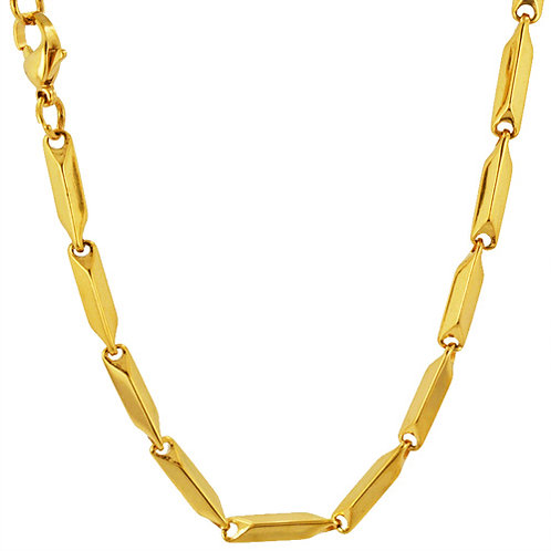 4MM GOLD IP PLATED BLOCK NECKLACE