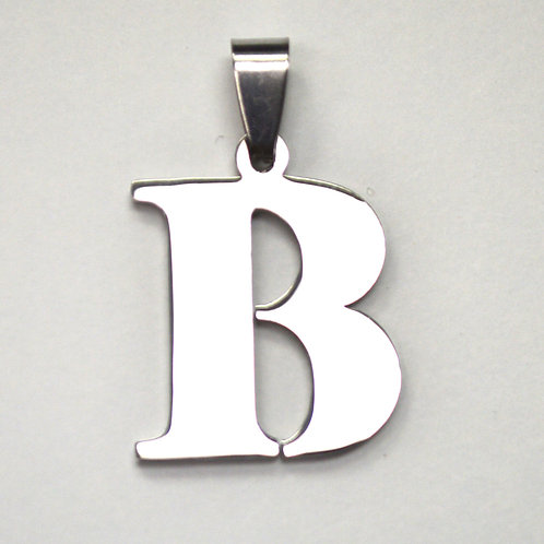 B Initial Pendant Stainless Steel (18x22mm)