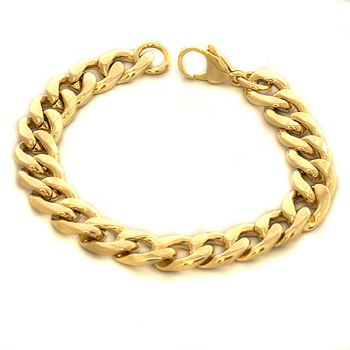 12MM GOLD IP PLATED CURB BRACELET 84-162G-12