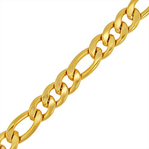 12MM GOLD IP PLATED FIGARO BRACELET 84-110G-12