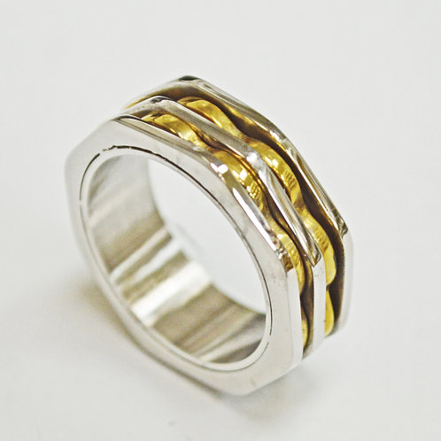 2 Line Gold Stainless Steel Ring (8mm) 81-1284G