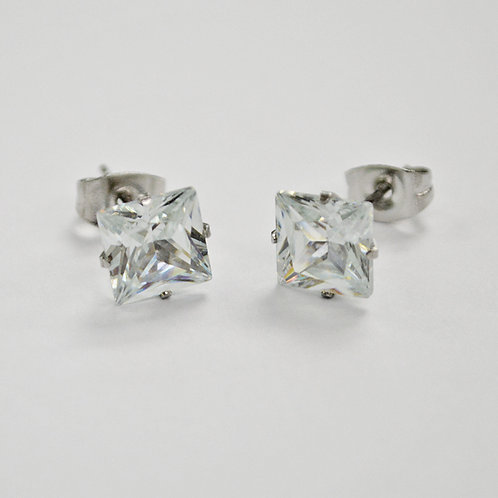 5mm Square CZ Earrings-10 Pairs