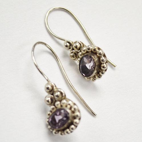 Amethyst Stone Sterling Silver Earrings 533025