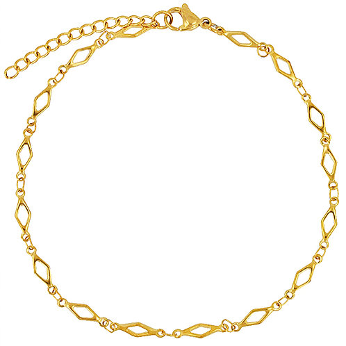 Diamond Cut Out Gold IP Plated Anklet 82-178G