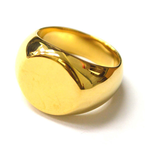 Round Signet Gold Plated Ring 81-1481G