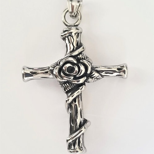 Cross with Rose Pendant 86-518L