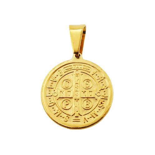 Gold Plated San Benito Medallion Pendant (22mm) 86-859G