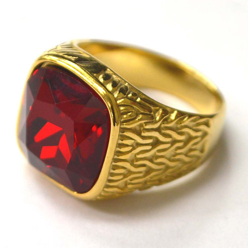 Red CZ Stone Gold IP Plated Ring 81-1474G-Red