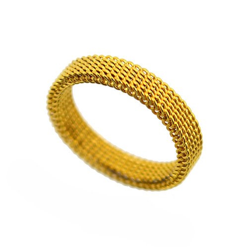 GOLD IP PLATE MESH RING (4mm) 81-1155G
