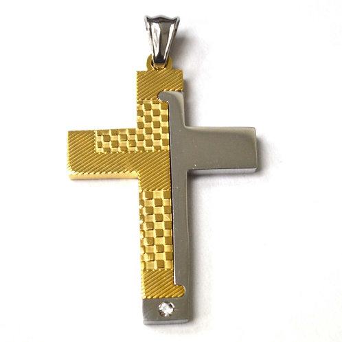 Cross 2 Tone Gold Plated Pendant86-1852G