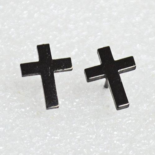 Plain Cross Black Plated  Stud Earrings 83-772B