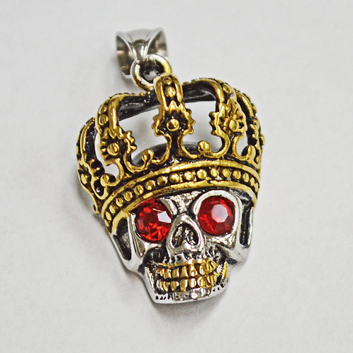 Crown Skull with Red Eye Pendant
