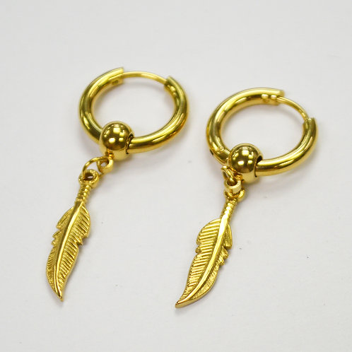 Hoops Earring with Feather Gold IP Plated 83-769G