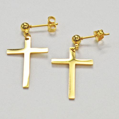 Cross Dangling Gold Plated Post Earrings  83-759G