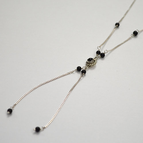 Black Onyx Bead Necklace Sterling Silver 551016