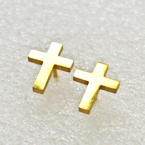 Plain Cross Gold Plated  Stud Earrings 5 prs 83-762G