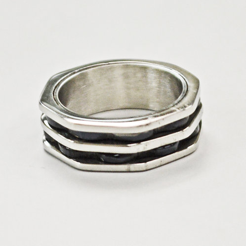 2 Line Black Stainless Steel Ring (8mm) 81-1284B