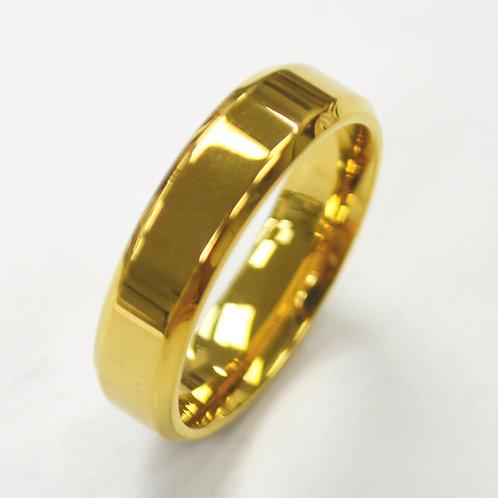 Gold Plated Shiny Finish Bevel Ring (8mm) 81-1353G-6