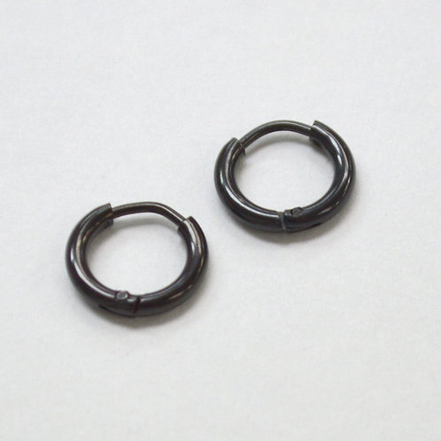 BLACK HOOP Spring Lock  EARRINGS (12mm)