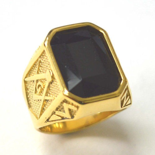 Black Stone Gold IP Plated Ring 81-1451G