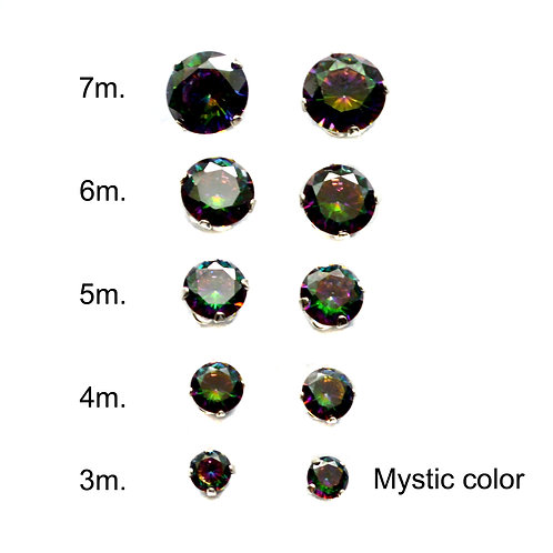 MYSTIC COLOR  ROUND CZ EARRINGS