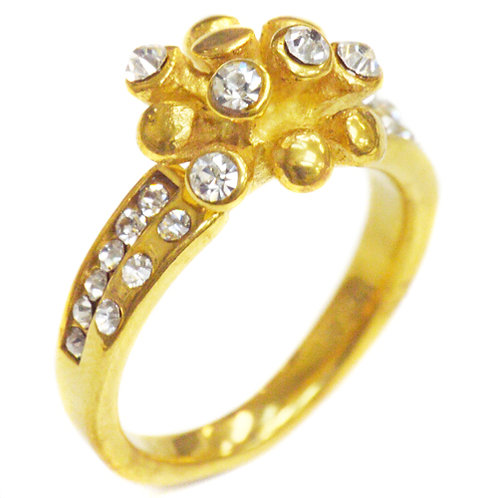 CZ  GOLD PLATED RING (12mm) 81-862