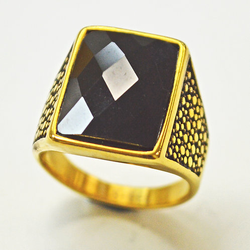 BLACK STONE GOLD IP PLATE RING (17x21mm) 81-1331