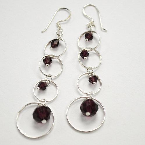 Crystal Stones Sterling Silver Earrings 534080