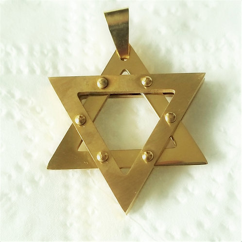Star of David Gold Ip Plated Pendant (30x34mm) 86-1985G-Sm