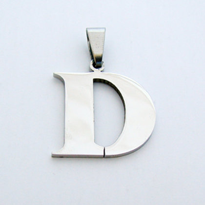 D Initial Pendant Stainless Steel (18x22mm)