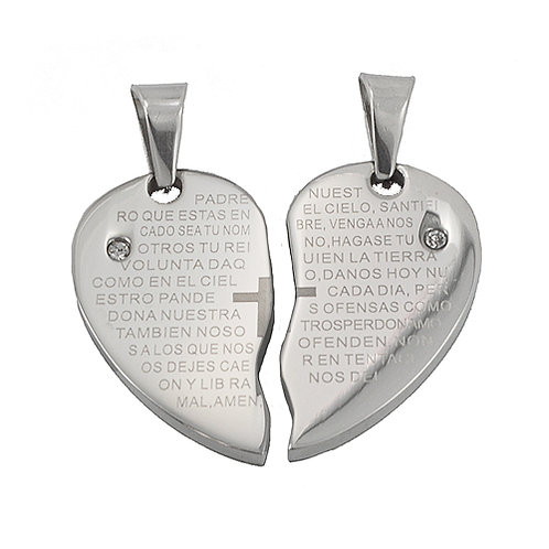 Padre Nuestro Heart Couple CZ Pendant Stainless Steel (35x29mm)