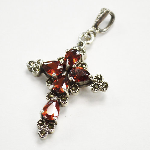 CZ Stone Marcasites Pendant Sterling Silver 562010
