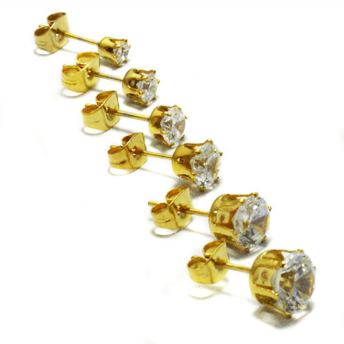 6mm Ro Gold Plated CZ Earrings-10 Pairs