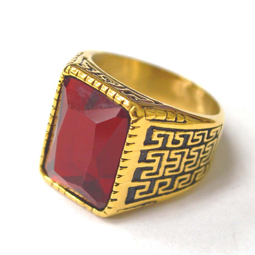 Red Stone Gold IP Plated Ring 81-1186G-Red