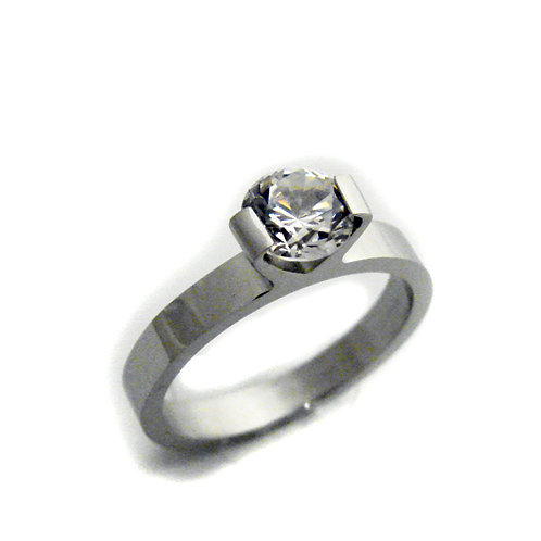 CZ Solitaire Ring Stainless Steel 81-678