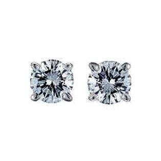4 m.  Round CZ Stud Earrings