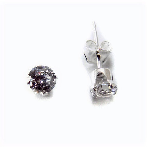 2 m. Round CZ Stud Earrings Clr
