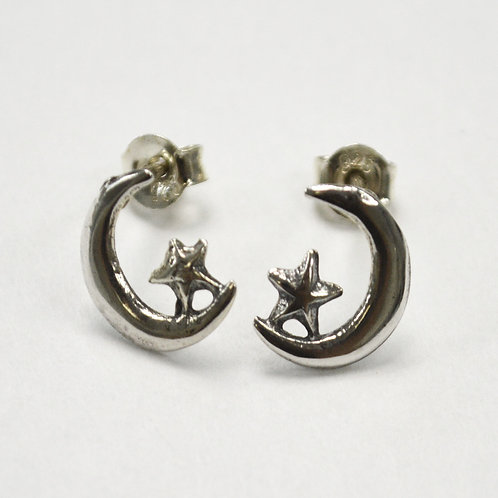 Moon and Star Stud Earring Sterling Silver 535216