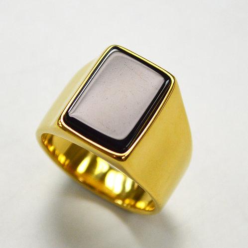 Black Stone Shiny Finished Gold IP Plated Ring 81-1180G-SH