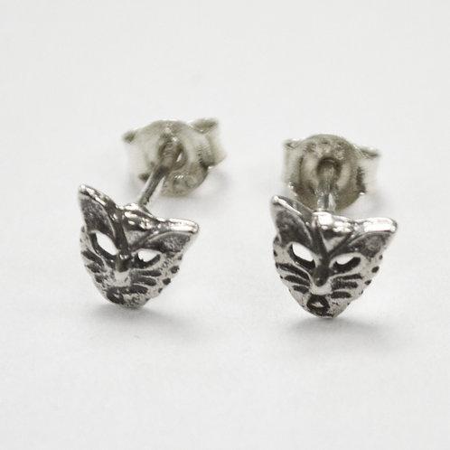 Cat Face Stud Earring Sterling Silver 535210