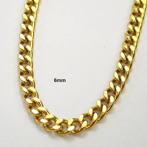 6mm Gold IP Plate Cuban 85-239G-6