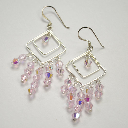 Crystal Stones Sterling Silver Earrings 534081