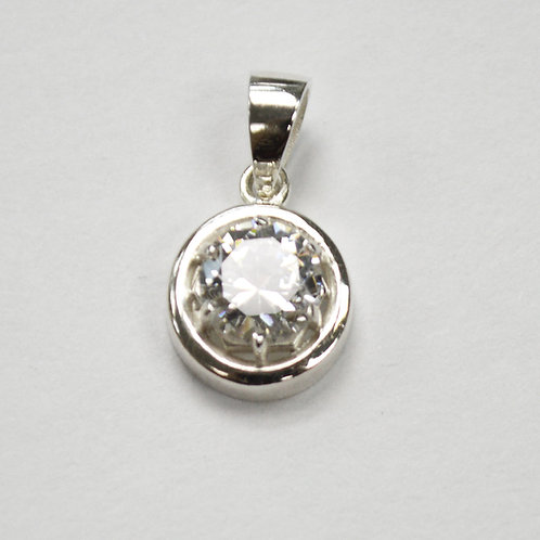 CZ Stone Pendant Sterling Silver 562059