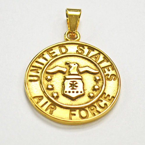 US Air Force Medallion Pendant Gold IP Plate (30mm)
