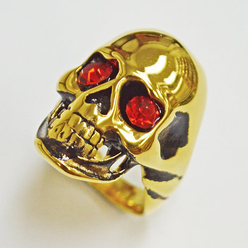 SKULL WITH RED EYE GOLD PLATED RING (19x29mm) 81-504G-Red
